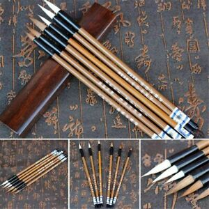 6 Pcs/set Calligraphy Brush Traditional Chinese White Clouds Bamboo Wolf's Hair