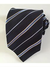 Ermenegildo zegna men tie navy striped blue 100 % silk excellent condition