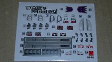 A Transformers premium quality replacement sticker/decal sheet for G1 Chop shop