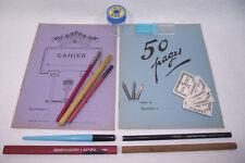 Lot ancien SET D'ECOLIER Neuf Porte plumes Cahiers Taille Crayon Ecriture (1)