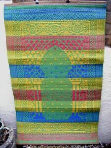 INDIAN MAT WOVEN PLASTIC 75cm x 125cm ~  Blue Yellow Green ~ Great Festival Mat!