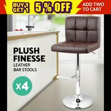 Brown Cho Noel 4x PU Leather Bar Stool Kitchen Chair  Gas Lift 1055