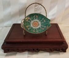 New listing Vintage 19th Century Bon Bon Dish - Emerald Green Cabbage Pattern - Qing Dynasty