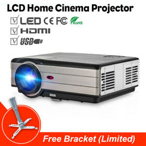 HD LCD Home Cinema Projector 4500lms Multimedia Video Game HDMI USB+Free Bracket