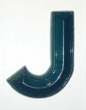 "Letter ""J"" Blue Dimensional Decorative Art Wall Hanging Hard Plastic Composition"