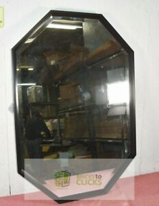 """Kate and Laurel- Calter Elongated Octagon Wall Mirror Black 38"""" x 26"""""""