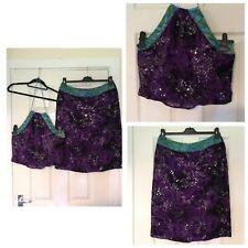 Rare Karen Millen Silk Blend Purple Crop Top Skirt Size 14 Hand Beaded (A123)