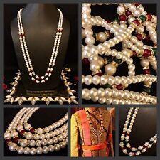 Bride/Groom Attire Kantha Moti Mala Ivory Pearl 2 String Wedding Sherwani Mala