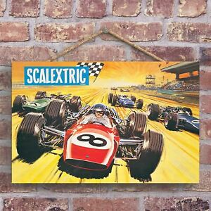 A CLASSIC SCALEXTRIC RETRO STYLE VINTAGE ADVERTISEMENT ON A WOODEN PLAQUE