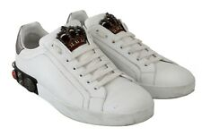 DOLCE & GABBANA Shoes Sneakers White Leather King Crown Sequined s. EU43 / US10