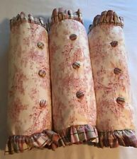 "3 Decorator Red Pink Green Toile Roll Pillows Bedding 7"" X 22"""