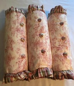 "3 Decorator Red Pink Green Toile Roll Pillows Bedding 7"" X 22"" CUSTOM MADE"