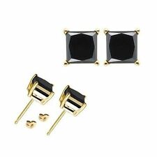 1 Carat 5MM Princess Black CZ 925 Silver Yellow Gold Plated Stud Earrings