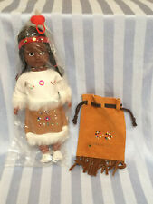 Vtg Hard Plastic Native American Indian Girl Doll with leather pouch