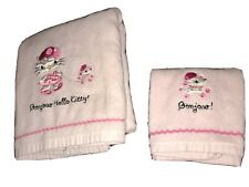 Hello Kitty Bonjour Bath And Hand Towel Set Light Pink Walking Pet Embroidered