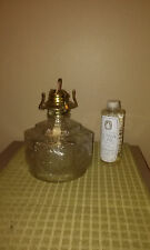 VINTAGE LAMPLIGHT FARMS CLEAR GLASS OIL LAMP BASE w/OIL HORSE & BUGGY