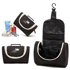 Lotus Mens Travel Hanging Hook Toiletry Wash Shower Bag Kit Case Black Small