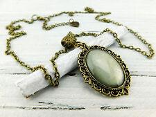 """Vintage Barock Halskette """"Zartes Mintgrün"""" in Bronze Grau Grün Steampunk Metall"""