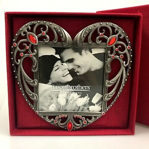 Aaron Brothers Picture Frame 3.5x3.5 Photo Ruby Red Heart Metal Gift Box NIB