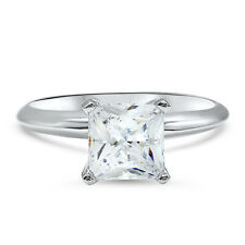 Cut Engagement Ring 14K White Gold 1 Carat Cubic Zirconia Cz Swarovski Princess