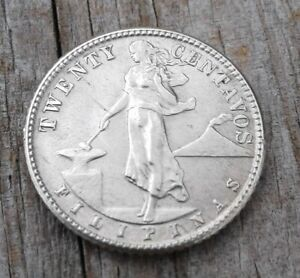 1944-D  PHILIPPINES SILVER 20 CENTAVOS ABOUT UNCIRCULATED - FREE SHIPPING