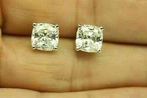 4.00 Ct Cushion Cut White Diamond Solitaire Stud Earrings 14K White Gold Finish