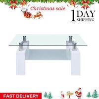 Coffee Table Glass Modern Shelf Wood Living Rectangular Room Furniture White New