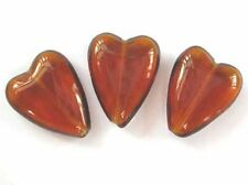 10 TOPAZ Czech glass heart beads - 16x12mm (16hrt-tpz)