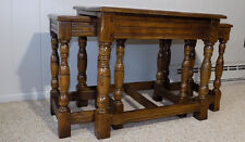 3 pc English solid Oak old charm nesting end table set NICE! Jaycee Wood bros ?