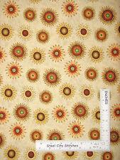 "Sunflowers Autumn Fall Harvest Sun Flower Toss Cotton Fabric SSI 34"" Length"