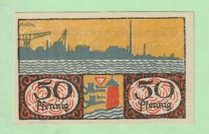 GERMANY DENMARK - FLENSBURG Plebiscit Banknote 50 Pfg 1919 a/UNC - RARE - LOOK!
