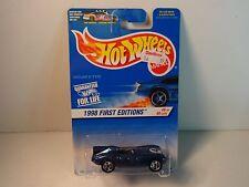 """Hot Wheels Blue Jaguar D-Type """"1998 1st Ed."""" w/ 5 spoke wheels PKG# 638 MIP"""