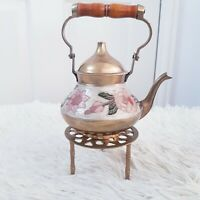 Vintage India Made Small Engraved Brass Teapot Kettle on Trivet Stand Fireplace