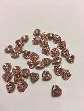 corazones rosas de Swarovsky para uñas 2 pz