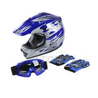 DOT Youth Blue Flame Dirt Bike ATV MX Motocross Helmet Goggles+gloves S M L XL