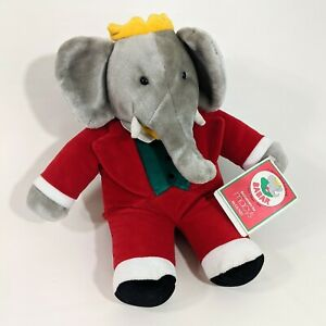 Babar Macy's Exclusive By Gund Plush Doll Red Suit Yellow Crown Vtg 88-1991 NWT