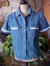 Blue Jean Shirt Size 6 Short Sleeve Embellished With Light Blue Braid Women's