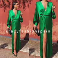 ZARA WOMAN NWT SS20 SALE! GREEN LONG SATIN EFFECT DRESS ALL SIZES REF: 2731/046