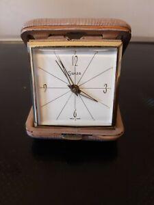 Vintage Folding Travel Alarm Clock Swiss