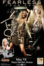 "TAYLOR SWIFT/KELLIE PICKLER/GLORIANA ""FEARLESS TOUR 2009""PORTLAND CONCERT POSTER"