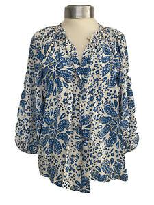 Designer Tucker Blue White Paisley Print Silk Smock Blouse Top Shirt P UK 10-12