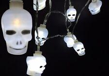 12er LED Totenkopf  Halloween Lichterkette Dekoration Batteriebetrieben Weiss