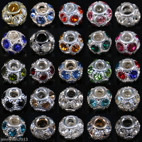 5/20/50 X Gems Rhinestone Crystal Rondelle Loose Spacer Beads 7mm/10mm/12mm/14mm