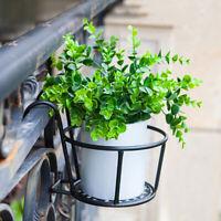 Iron Hanging Balcony Outdoor Garden Flower Pot Plant Basket Holder Rack Sh BX