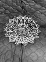 "Vintage Federal Glass PETAL CLEAR Round Flower Petal Shaped Bowl 10"""