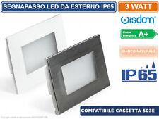 SEGNAPASSO LED RETTANGOLARE PER SCATOLA 503 DA ESTERNO IP65 DOPPIA CORNICE