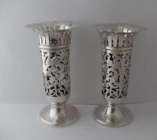 Pair Of Solid Silver Vases Birmingham 1903