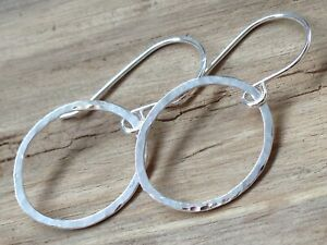 Sterling Silver Hammered Oval Handmade Drop Earrings