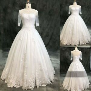 3/4 Sleeves Simple Bridal Ball Gown Lace with Beads Wedding Dresses Plus Size