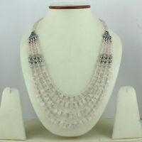 Necklace natural pink rose quartz gemstone handmade beaded fashion jewelry